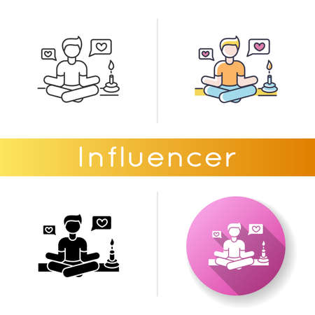 Lifestyle guru icon. Person in meditation pose getting likes. Harmony and stress relief. Life coach. Zen and yoga. Positive attitude. Linear black and RGB color styles. Isolated vector illustrations  イラスト・ベクター素材