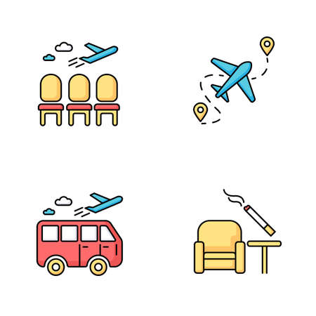 Airport terminal RGB color icons set. Waiting area for passengers. Aircraft lounge with empty seats. Airplane departure. Smoking zone inside. Journey destination. Isolated vector illustrations Vettoriali