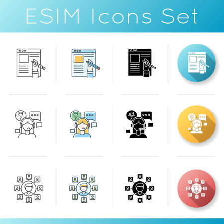 Remote jobs icons set. Technical support, SEO and copywriting. Freelance manager, article author and call centre operator. Linear, black and RGB color styles. Isolated vector illustrations