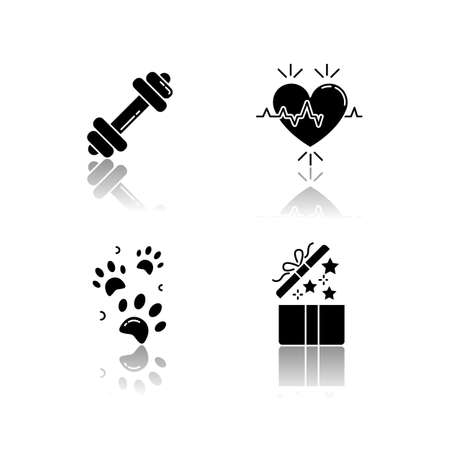 Lifestyle drop shadow black glyph icons set. Gym workout. Dumbbell for exercise. Cardio healthcare. Birthday present for social media highlights. Isolated vector illustrations on white spaces