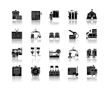 Dormitory drop shadow black glyph icons set. Communal space. Living accommodations. Hostel, hotel. Shared room. Common bedroom. University campus. Isolated vector illustrations on white space
