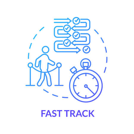 Airport fast track concept icon. Airline VIP pass, flight luxury class idea thin line illustration. Passport control queues avoiding. Vector isolated outline RGB color drawing