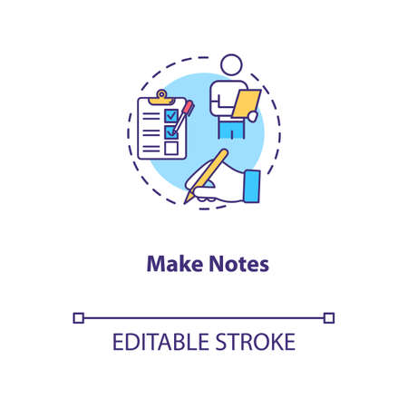 Make notes concept icon. Degustation event, winetasting tips, sommelier advice idea thin line illustration. Writing down preferred wines. Vector isolated outline RGB color drawing. Editable stroke
