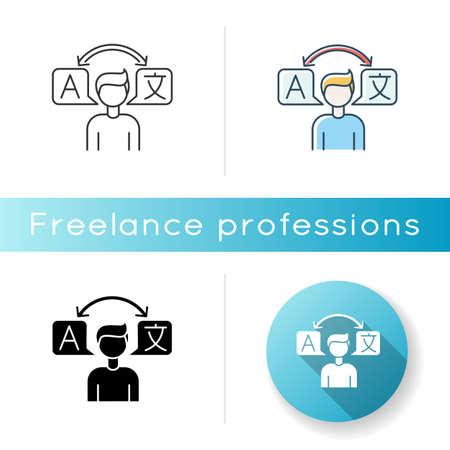 Translator icon. Foreign language freelance interpreter. Interpretation and translation, international communication. Linear black and RGB color styles. Isolated vector illustrations