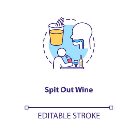 Spit out wine concept icon. Professional sommelier advice, winetasting tips idea thin line illustration. Avoid swallowing at degustation. Vector isolated outline RGB color drawing. Editable stroke 向量圖像