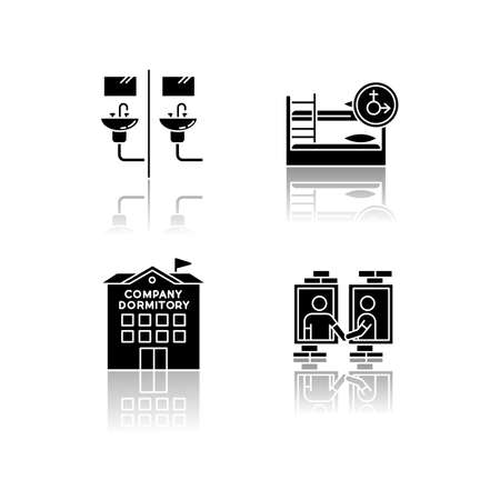 Company dormitory drop shadow black glyph icons set. Communal bathroom. Mixed bedroom. Neighborhood. Shared room. Common space. Corporate accommodation. Isolated vector illustrations on white space Ilustrace