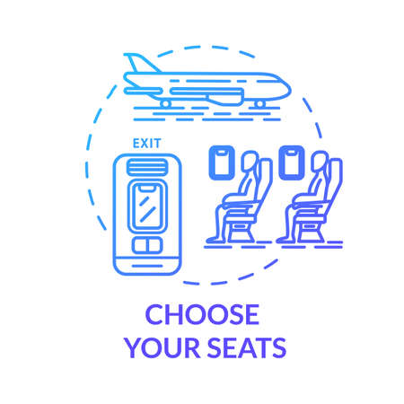 Choose your seats concept icon. Airplane tickets booking idea thin line illustration. Passenger transport seat map. Traveling by plane. Vector isolated outline RGB color drawing 向量圖像