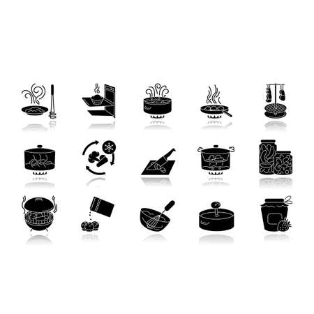 Cooking process drop shadow black glyph icons set. Different food preparation methods, various culinary techniques. Ingredients and kitchen utensils isolated vector illustrations on white space
