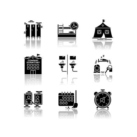 Living in dormitory drop shadow black glyph icons set. Mixed bedroom. Company dorm. Neighborhood. Cleaning schedule. Quiet hours. Communal bathroom. Isolated vector illustrations on white space