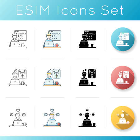 Distant workers icons set. 3D modelling and creative design, web development. Programmimg and designing. Program creating. Linear, black and RGB color styles. Isolated vector illustrations