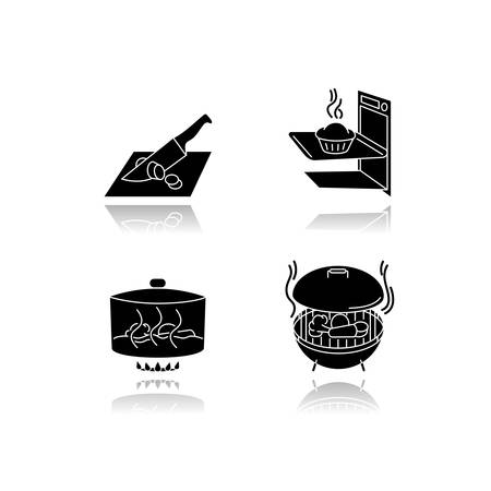 Cooking methods drop shadow black glyph icons set. Various culinary techniques, food preparation process. Cutting, baking, stewing and grilling isolated vector illustrations on white space Ilustração Vetorial