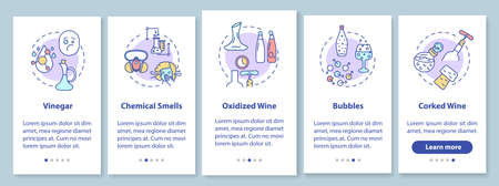 Wine tasting onboarding mobile app page screen with concepts. Determine bad quality alcohol walkthrough 5 steps graphic instructions. UI vector template with RGB color illustrations