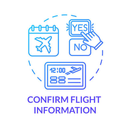 Confirm flight information concept icon. Airlines online services idea thin line illustration. Airplane travel status confirmation. Vector isolated outline RGB color drawing