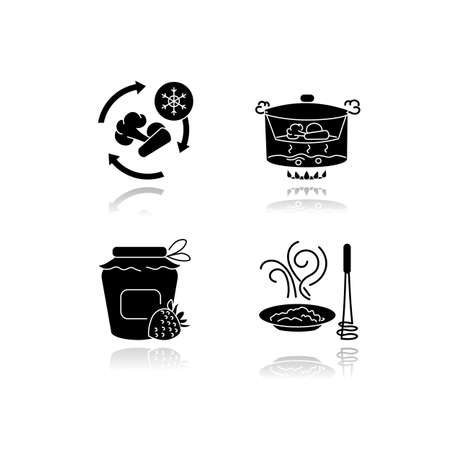 Culinary methods drop shadow black glyph icons set. Products preparation and conservation techniques. Food freezing, canning, steaming and puree isolated vector illustrations on white space Illustration