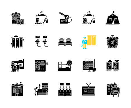 Dormitory black glyph icons set on white space. Communal space. Living accommodations. Hostel, hotel. Shared room. Common bedroom. University campus. Silhouette symbols. Vector isolated illustration