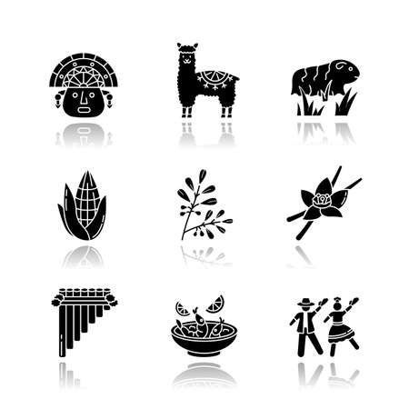 Peru drop shadow black glyph icons set. Hispanic history, traditions, culture, cuisine. Incas, alpaca, guinea pig, corn, coca, vanilla, ceviche, marinera. Isolated vector illustrations on white space