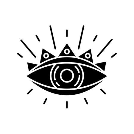 All seeing eye black glyph icon. Occultism and prophecy sacred symbol. Eye of providence. Religious, magical and esoteric sign. Silhouette symbol on white space. Vector isolated illustration Illustration