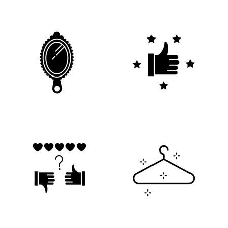 Fashion and beauty black glyph icons set on white space. Hand mirror. Recommendation with five stars. Review rate. Empty hanger. Satisfaction level. Silhouette symbols. Vector isolated illustrations
