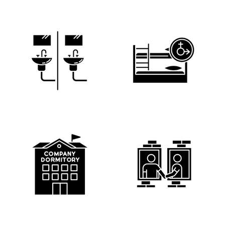 Company dormitory black glyph icons set on white space. Communal bathroom. Mixed bedroom. Neighborhood. Shared room. Corporate living accommodation. Silhouette symbols. Vector isolated illustration