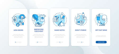 Wine tasting onboarding mobile app page screen with concepts. Recommendation for attending event walkthrough 5 steps graphic instructions. UI vector template with RGB color illustrations