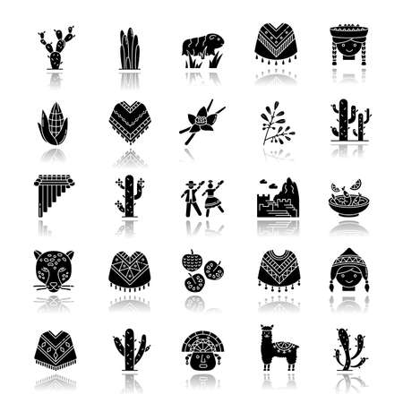 Peru drop shadow black glyph icons set. Andean country sights, traditions, cuisine, agriculture, animals. Siku, cherimoya, jaguar, incas, marinera. Isolated vector illustrations on white space Vectores