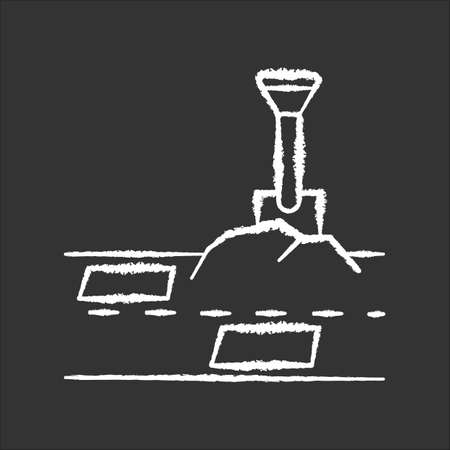 Patching works chalk white icon on black background. Roadworks construction. Fill ground hole with shovel. Pothole in pavement. Surfacing and paving. Isolated vector chalkboard illustration
