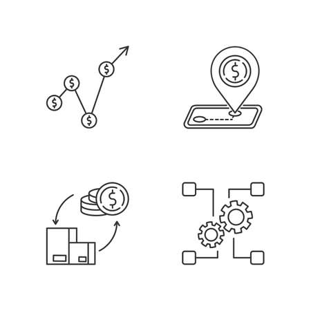 Country economics pixel perfect linear icons set. Gross domestic product, tariffs and payments balance. Customizable thin line contour symbols. Isolated vector outline illustrations. Editable stroke
