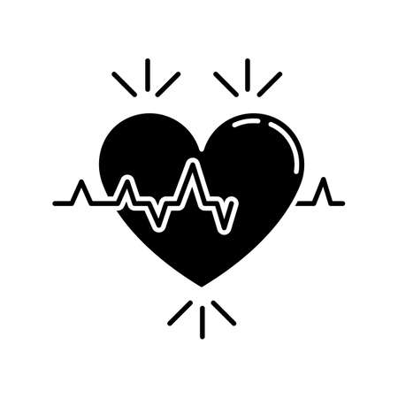 Heart black glyph icon. Pulse rate. Heartbeat rhythm. Cardiogram frequency analysis. Vital signs. Cardio health care. Medical tests. Silhouette symbol on white space. Vector isolated illustration