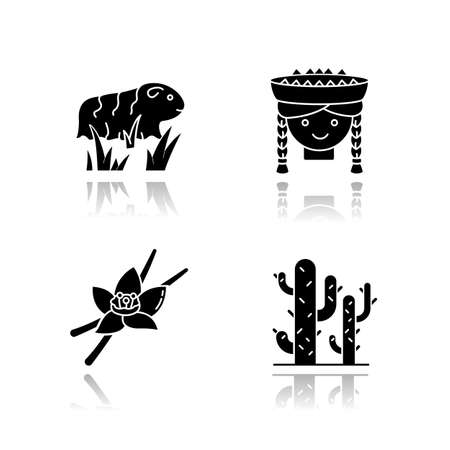 Peru drop shadow black glyph icons set. Incas country features. Guinea pig, peruvian girl, vanilla, cactuses. Andean region traditions and nature. Isolated vector illustrations on white space Vectores