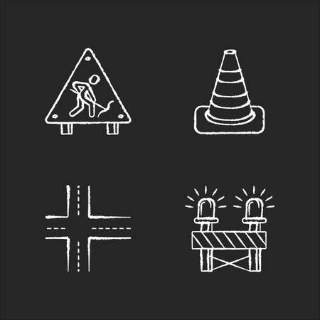 Road works chalk white icons set on black background. Construction ahead sign. Traffic cone. Crossroads, path intersection. Siren on barrier. Isolated vector chalkboard illustrations