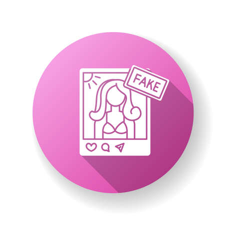 Fake influencer pink flat design long shadow glyph icon. Fraud blogger profile. Mislead with photo in account. Deception with social media page. Female model. Silhouette RGB color illustration