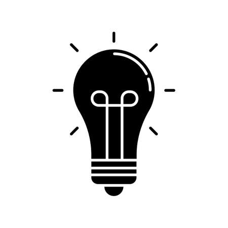 Light bulb black glyph icon. Glowing lightbulb. Think of solution. Incandescent lamp. Imagination and intelligence symbol. Silhouette symbol on white space. Vector isolated illustration