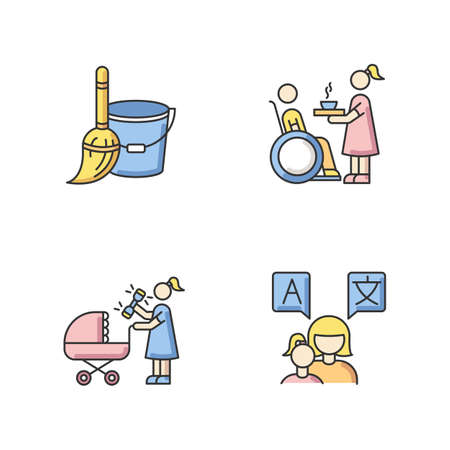 Babysitter service RGB color icons set. Household duties. Special needs assistance. Mother caring for newborn baby. Teacher speak languages with toddler. Isolated vector illustrations Ilustración de vector
