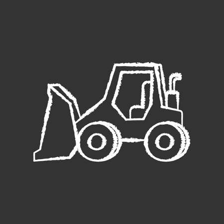 Bulldozer chalk white icon on black background. Road works industrial truck. Dozer for ground loading. Excavator for construction. Agricultural transport. Isolated vector chalkboard illustration
