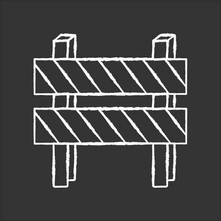 Road barrier chalk white icon on black background. Striped block on highway. Dead end sign. Barricade for forbidden work site. Blocked highway obstacle. Isolated vector chalkboard illustration Stock Illustratie