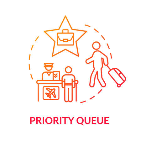 Priority queue concept icon. Luxury class flight benefit idea thin line illustration. Passport control, access for VIP passengers. Vector isolated outline RGB color drawing