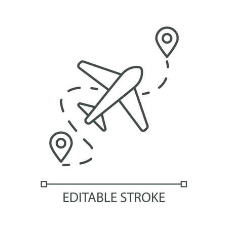Airplane route pixel perfect linear icon. Plane destination with GPS point. Location for arrival. Thin line customizable illustration. Contour symbol. Vector isolated outline drawing. Editable stroke Иллюстрация