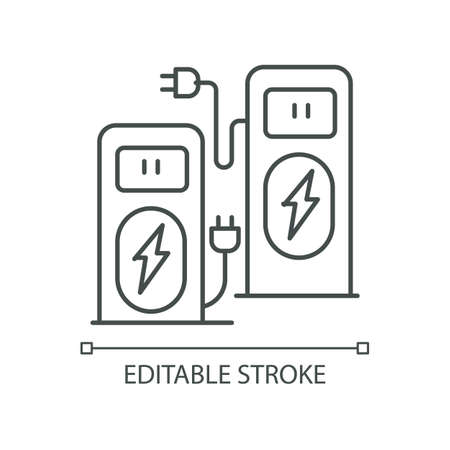 Power recharge terminal pixel perfect linear icon. Self service kiosk to charge vehicle. Thin line customizable illustration. Contour symbol. Vector isolated outline drawing. Editable stroke