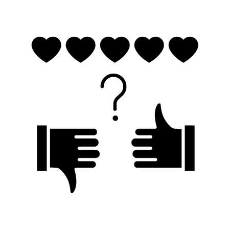 Review rate black glyph icon. Thumbs up and down. Hand sign of like and dislike. Satisfaction level. Feedback for social media stories. Silhouette symbol on white space. Vector isolated illustration 向量圖像