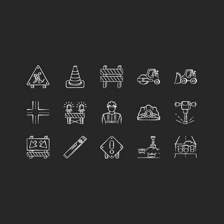 Road works chalk white icons set on black background. Roadsign for construction. Worker in safety helmet. Bulldozer truck. Roller for laying pavement. Isolated vector chalkboard illustrations  イラスト・ベクター素材