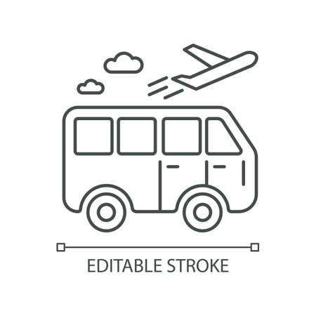 Travel means pixel perfect linear icon. Transportation types for traveling. Bus ride. Thin line customizable illustration. Contour symbol. Vector isolated outline drawing. Editable stroke