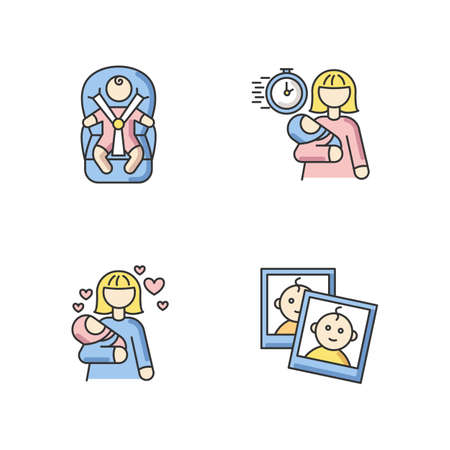 Babysitting service RGB color icons set. Child transportation. Emergency babysitter. Mom love for infant baby. Photo report of little kid for parents. Isolated vector illustrations
