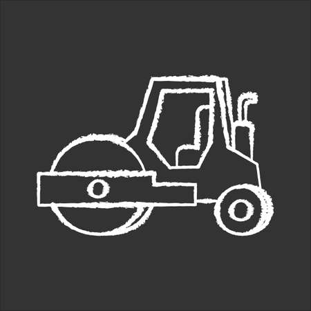 Road roller chalk white icon on black background. Compactor type vehicle for construction works. Roadworks transportation. Heavy machinery for paving. Isolated vector chalkboard illustration 版權商用圖片 - 143533781