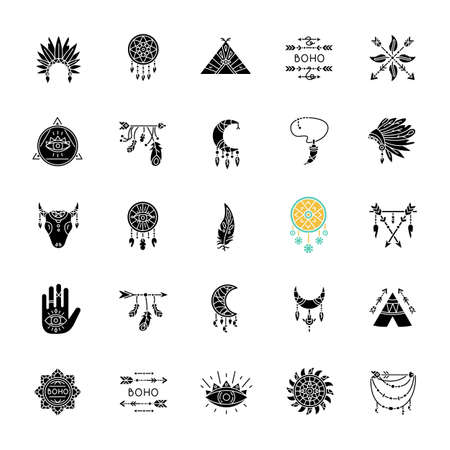 Boho style black glyph icons set on white space. Native American Indian amulets. Dreamcatcher ethnic charms. Vintage pendant. Silhouette symbols. Vector isolated illustration