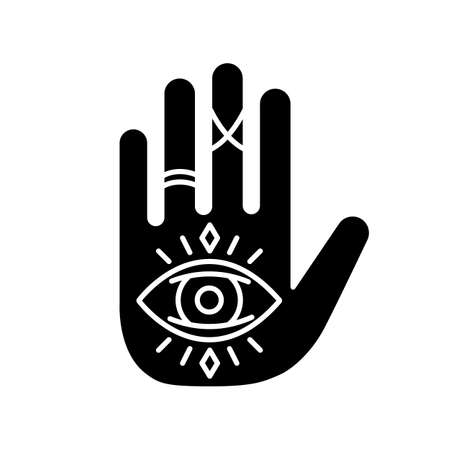 Hand and eye esoteric black glyph icon. Fortune teller mystic symbol. All seeing eye magical sign. Future prediction talisman. Silhouette symbol on white space. Vector isolated illustration