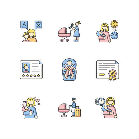Babysitter service RGB color icons set. Speak languages with toddler. Woman with rattle toy. Pay rate for babysitting. Child day care. Baby in car seat with safe belt. Isolated vector illustrations