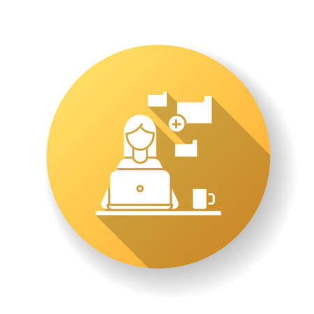 Data entry jobs yellow flat design long shadow glyph icon. Converting image to text, copying and pasting text material. Data tasks and document formatting. Silhouette RGB color illustration Ilustração