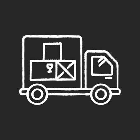 Goods receipt chalk white icon on black background. Logistics, distribution, merchandise delivery service. Cargo transportation, products supply. Isolated vector chalkboard illustration