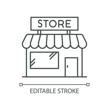 Convenience store pixel perfect linear icon. Grocery shop exterior. Small business in retail. Thin line customizable illustration. Contour symbol. Vector isolated outline drawing. Editable stroke