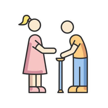 Senior care RGB color icon. Elder person with cane. Female social worker help old man walking. Assistance for disabled people. Physical rehabilitation. Isolated vector illustration